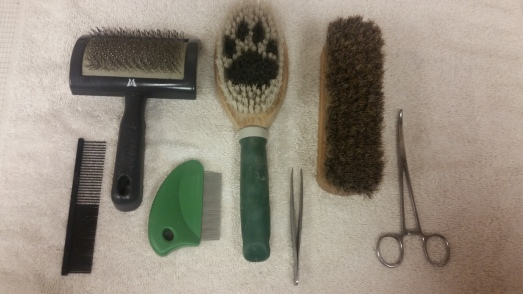 Slicker brushes are great for breaking up mats and tangles, and to finish with as well. The face combs or flea combs are great for the short hair around the eyes and muzzle. The bristle brushes help grip the oils and spread them all throughout the coat.